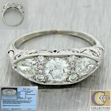 1920s Antique Art Deco Solid Platinum 1.14tw Diamond Cluster Band Ring EGL