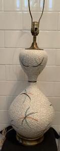 Vintage-MCM-ATOMIC-STAR-BURST-Genie-Bottle-Mottle-Glaze-Organic-Pottery-Lamp-60s
