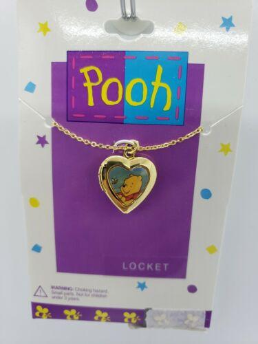 Vintage Gold Locket Necklace Winnie The Pooh Disney heart shaped stamped AAI noc