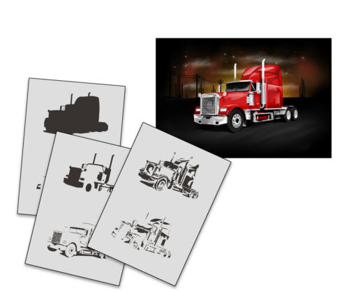 Step by Step Stencil AS-257 Truck ~ UMR Airbrush Stencil
