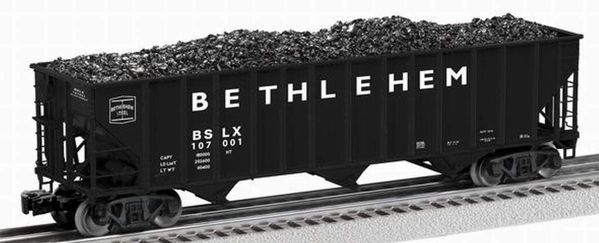 LIONEL BETHLEHEM STEEL SCALE 3-BAY OPEN HOPPER  107001 O SCALE