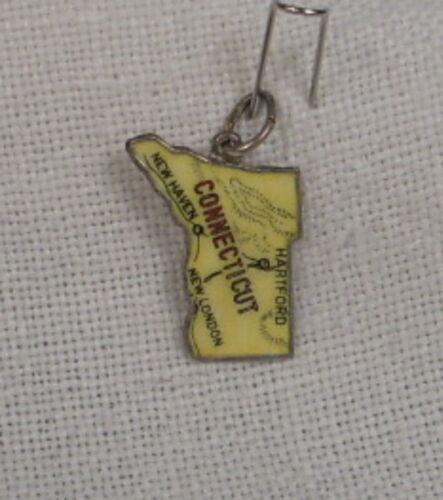 NOS Vintage REU Sterling//Enamel Connecticut Map Shaped Bracelet Charm Yellow
