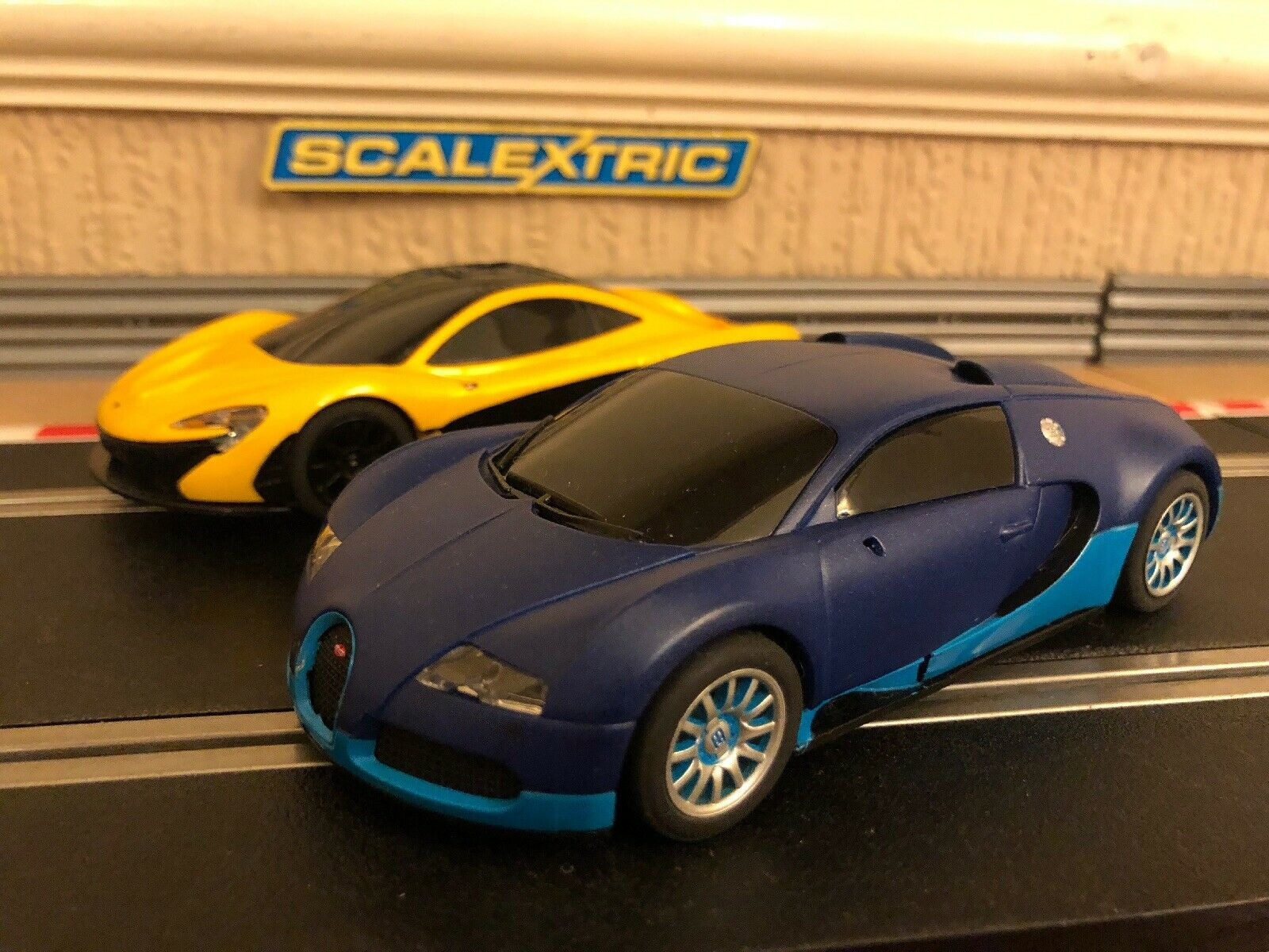 Scalextric McLaren P1 & Bugatti Veyron Fully Serviced & New Braids Fitted
