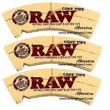 """New! 3 PKS RAW rolling paper """"MAESTRO"""" CONE TIPS Natural Unrefined Cotton & Hemp"""
