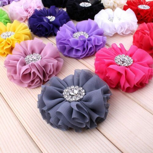 120PCS Chiffon Metal Button Fluffy Ruffled Fabric Flower Accessories For Clip