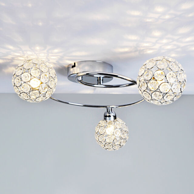 Modern 3 Way Flush Silver Chrome Spiral Ceiling Light Fitting Acrylic Jewels