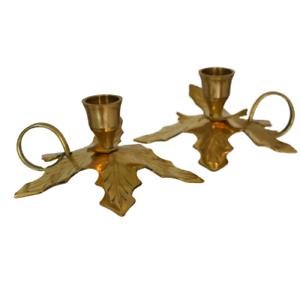 Vintage Brass Holly Leaf BOUGEOIRS paire vacances de Noël