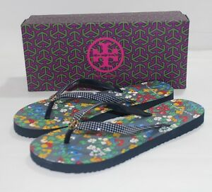 be63826db33c TORY BURCH Printed Thin Flip Flops IRIS GARDEN 962 Size 8 NEW IN BOX ...