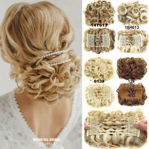 Women-Wave-Curly-Combs-Clip-In-Hair-Bun-Buns-Chignon-Updo-Cover-Hair-Extension-F