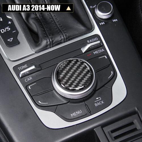 Carbon Fiber Central Console Knob Decorative Cover Sticker for Audi A3 14-18