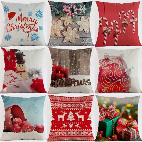 """18/"""" Christmas Gift Cotton Linen Pillow Case Throw Cushion Cover Home Décor"""