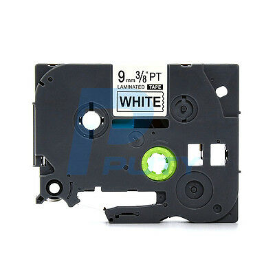"5PK Extra Adhesive TZES221 TZS221 Black on White Label for Brother PT-18RKT 3//8/"""