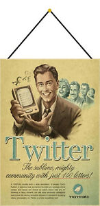 Advertising-Twitter-Mann-Mobile-Phone-Shield-with-Cord-Metal-Tin-Sign