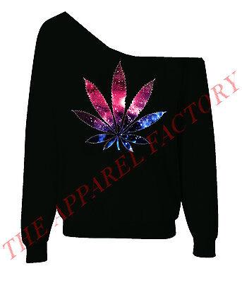Galaxy Weed Leaf Sexy Off Shoulder Slouchy Sweatshirt Kush Blunt Dope Sweater