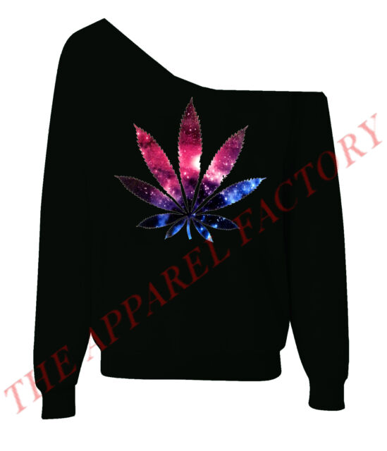 Galaxy Weed Leaf Sexy Off Shoulder Slouchy Sweatshirt Kush Blunt Dope Sweater