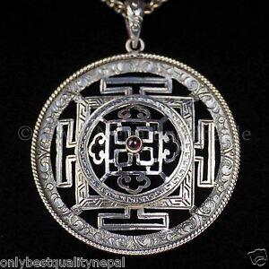 """Amulette Mandala Argent """" Top Qualité """" Dharma Lama Boudhisme 134g"""