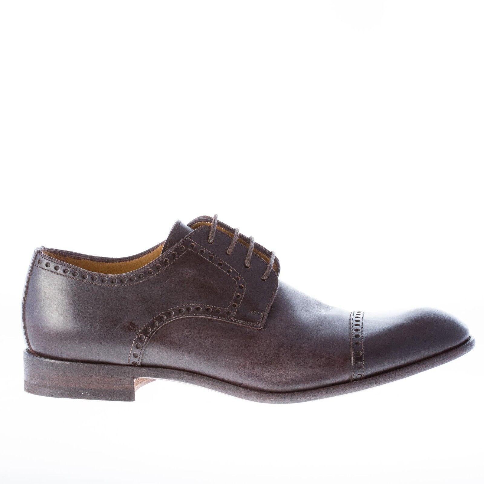Migliore Hombres Zapatos Hecho En Italia Cuero Marrón Oscuro Derby PERFORADO PUNTERA