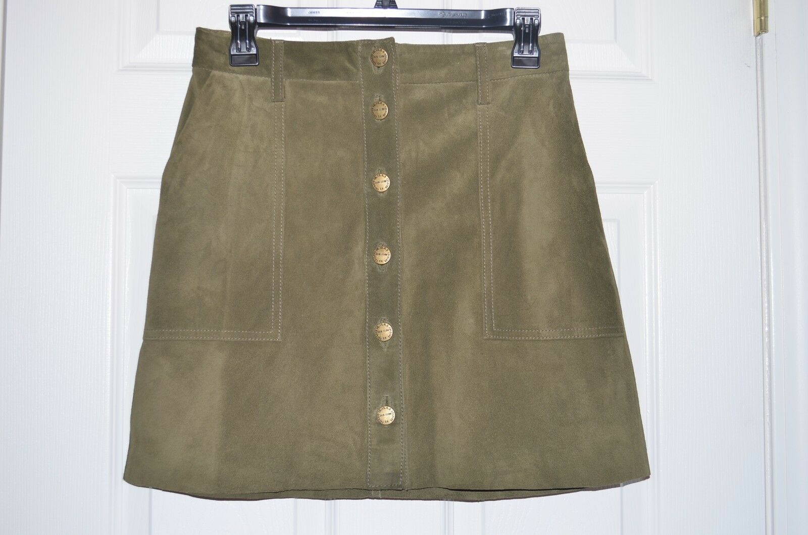 NWT Current Elliott Genuine Leather Naval Button Front Olive Skirt - 25 NWT  588