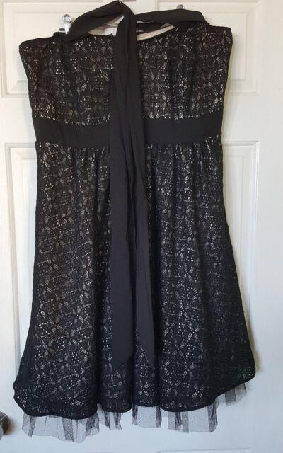 CITY CHIC Black Lace Strapless Halter Neck Tulle Full Dress Size S 14 16 B23