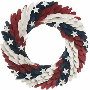 """PIER1 21"""" PATRIOTIC AMERICANA RED, WHITE AND BLUE WOOD CURL EAGLE WREATH BNWT"""