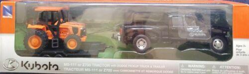 1//32 Scale Kubota Dodge 3500 Pickup Truck w//Trailer M5-111 Farm Tractor Set NIB