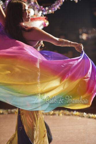 "9/'x45/"" rolled edges 2.7m*1.1m black-purple-pink-red 5mm belly dance silk veil"