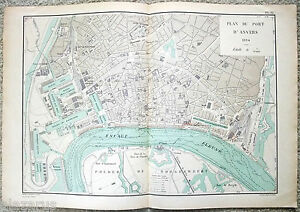 Original French Map of the Port of Antwerp, Belgium in 1894 - D'Anvers