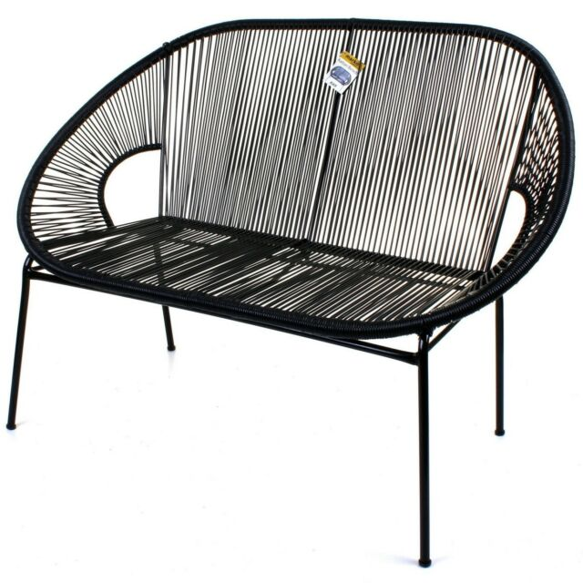String Rattan 2 Seater Bench Sofa Moon Love Seat Indoor Outdoor Steel Frame Legs