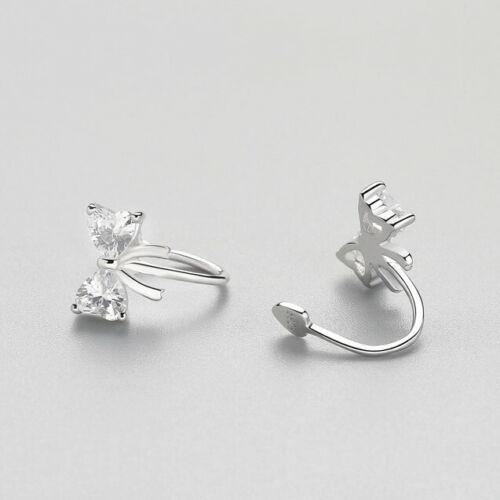 Ohrklemme Schleife Blüte echt Sterling Silber 925 Zirkonia Damen Ohrringe