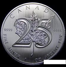 Canada Maple Leaf 2013 25th Anniversary Pure Silver .999 1oz 加拿大枫叶25周年1盎司银币