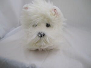 Russ-Berrie-Sammie-Dog-White-Terrier-Laying-NEW-Retired-Discontinued