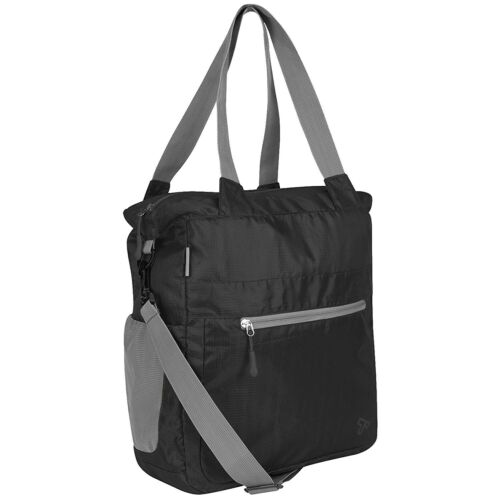 TRAVELON Packable Crossbody Tote Bag Black water resistant compact portable