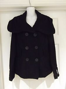 VILA-Clothes-Black-Coat-Wool-Blend-Classic-Hip-Length-Smart-Casual-Size-Medium