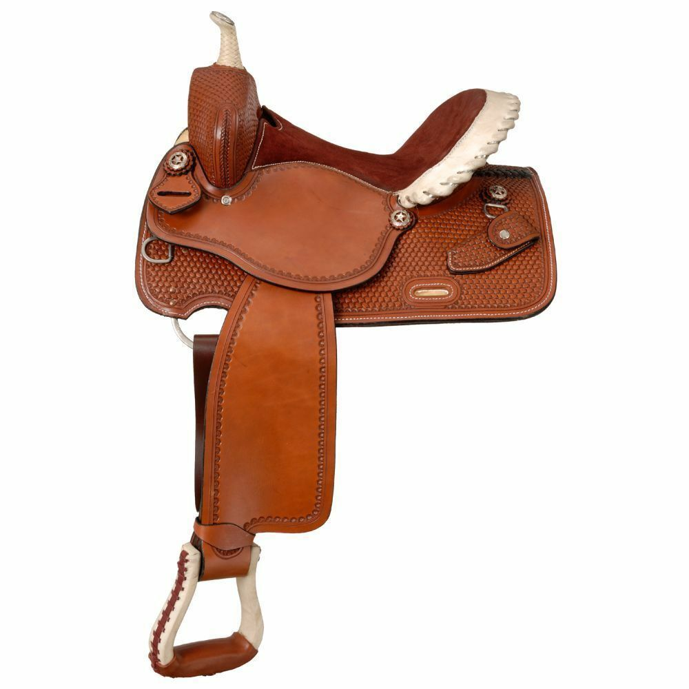 Western Tan Leather Barrel Racer Hand Tooled 17  Saddle With Rawhide Cantel
