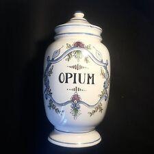 "Ancien Important POT A PHARMACIE ""Opium"" En Faïence"