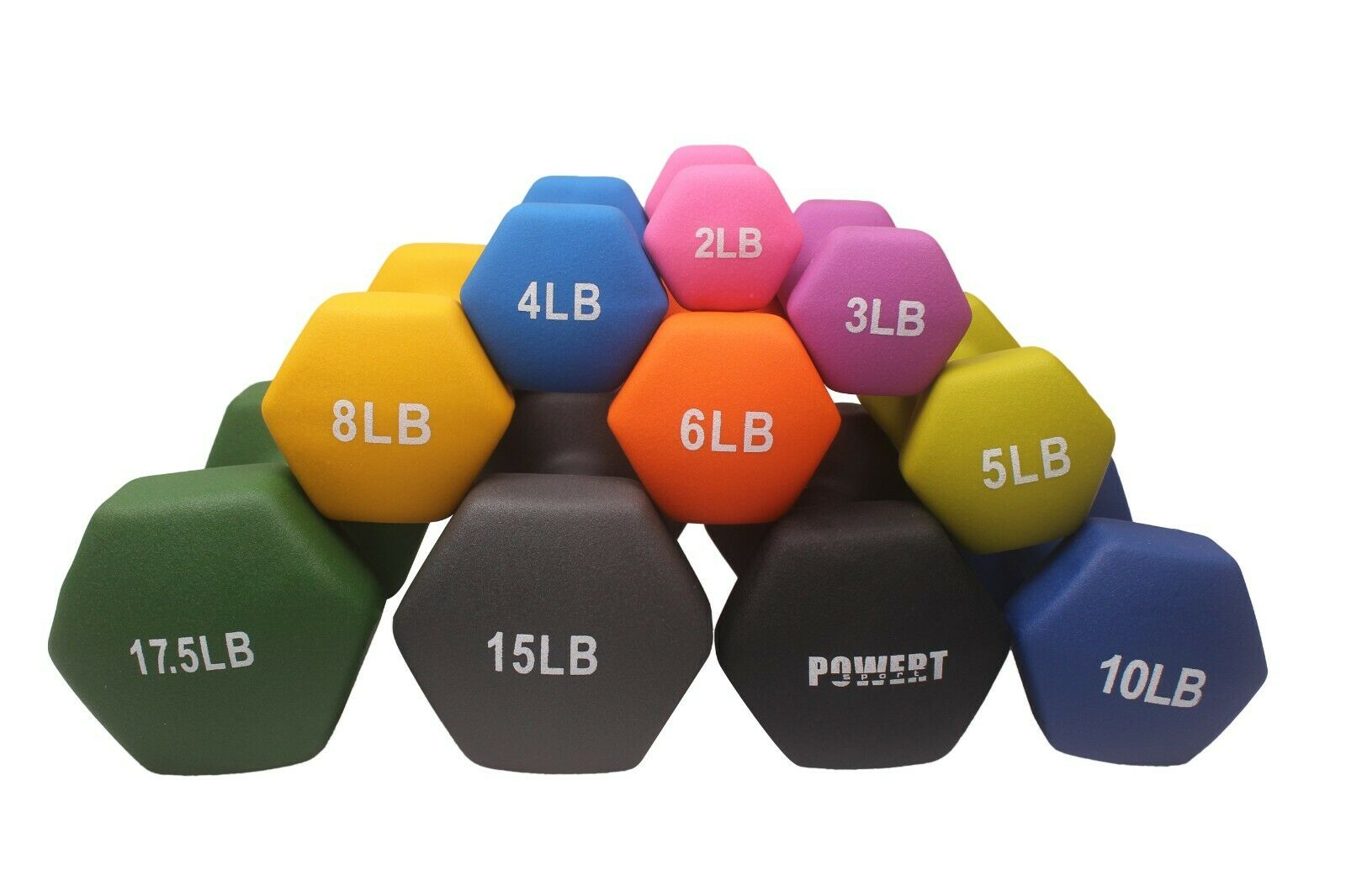 POWERT HEX Neoprene Coated Colorful Dumbbell Weight Lifting Training–One Pair