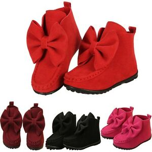 4930f869fc146 Details about Kids Pretty Shoes Girls Bowknot Ankle Boots Children Soft  Princess Flat Boots UK