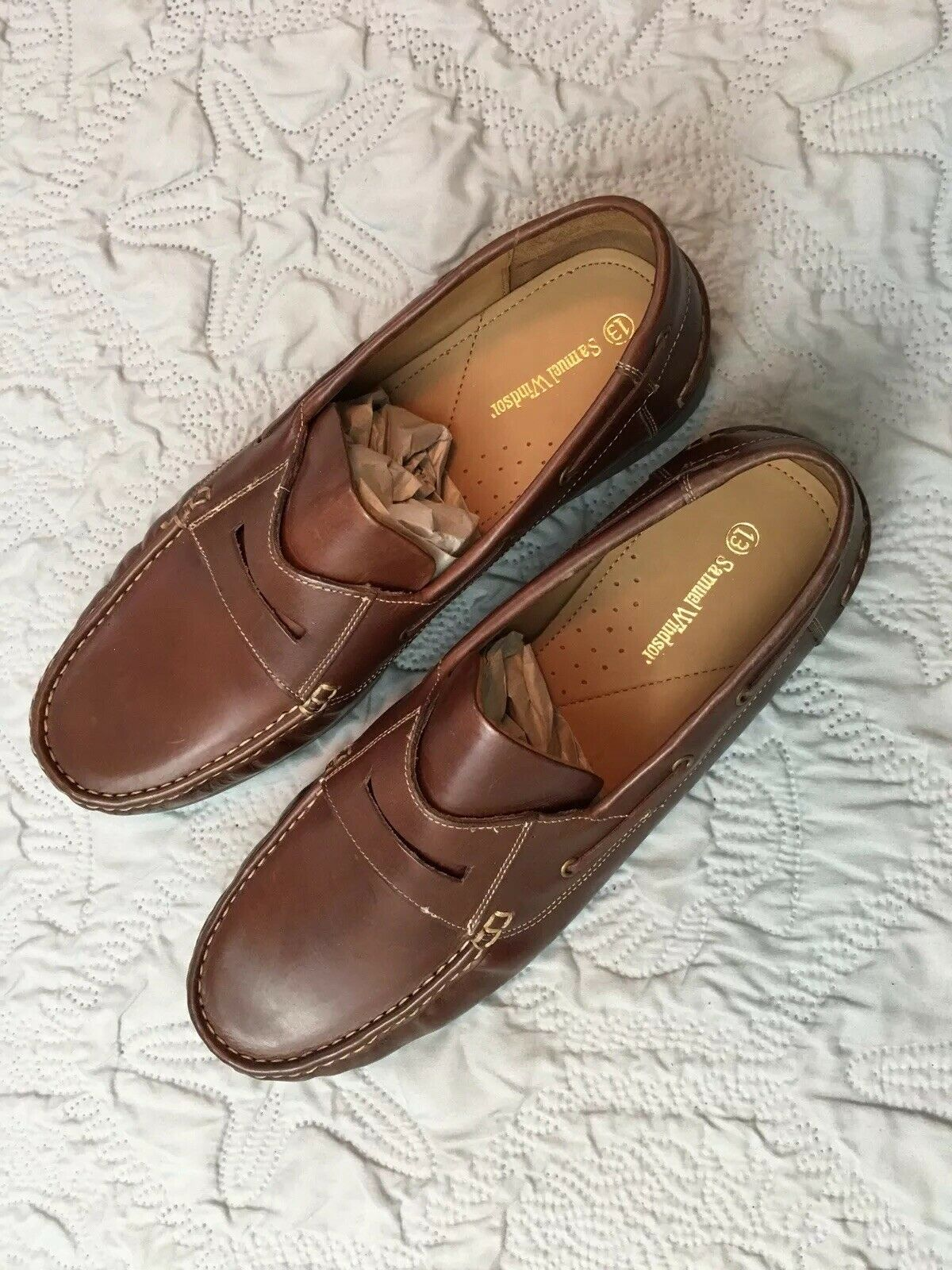 Samuel Windsor Classic Penny Loafer shoes US Size 13 Mens Brown Leather