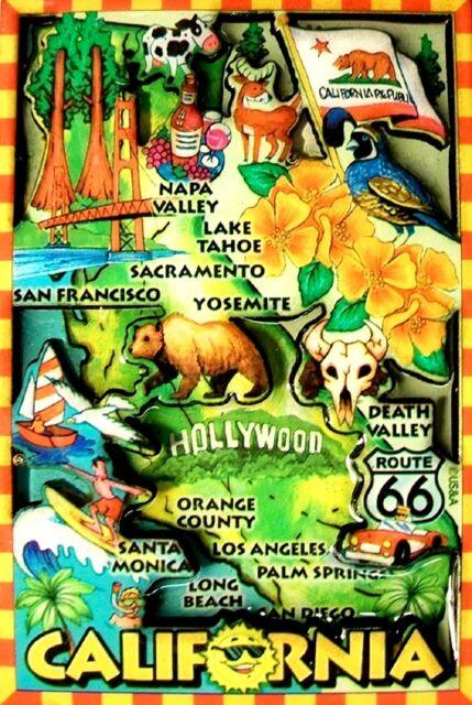 California Sacramento Multi Color Fridge Magnet