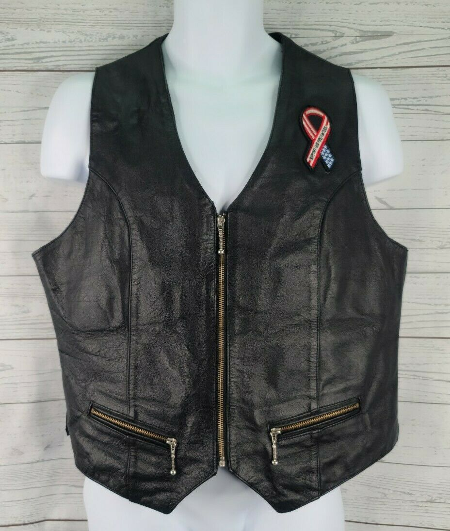 Jim Leather Inc Motorcycle Vest Sz XL Black FD Skull Flame Embroidered Patch Zip