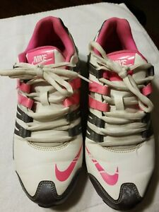 Nike-Shox-Running-Shoes-Sneaker-Womens-639657-108-Size-9-White-Pink-Silver