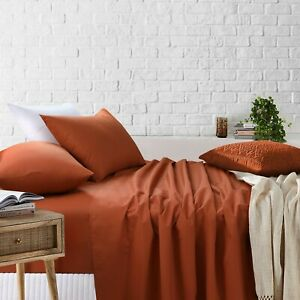 Super King Bed Sheets Set Fitted Flat Sheet Double Queen King Single Size Rust