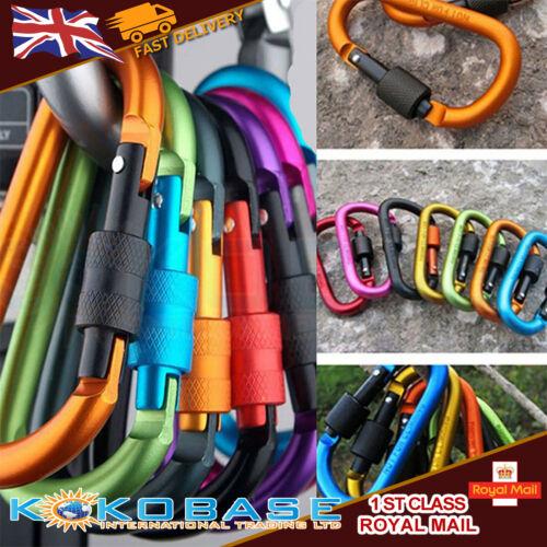 6 x Aluminum Carabiner D-Ring Key Chain Clip Snap Hook Karabiner Camping Key