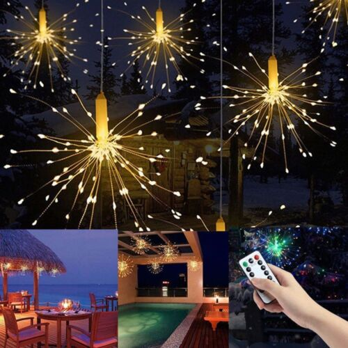 120//180LED Outdoor Firework Fairy Lights Christmas String Lights Remote Control
