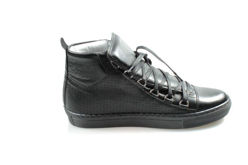 Scarpe casual da uomo  SNEAKERS traforate alte scarpe srtinghe 100%vera pelle made in italy  shoes