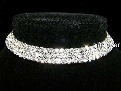 Simulated Glass Pearl Crystal Ring Flex Wire Choker Necklace In Silver Tone 38