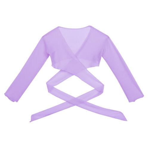 Kids Girls Ballet Costume Dance Gym Tie Adjustable Closure Wrap Top Shrug Shawl