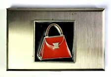 Gail Ahlers Signed Red Purse Enamel Stainless Steel Business Card Holder