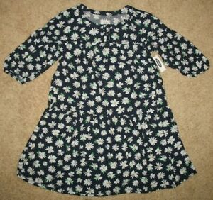 NWT-Girls-039-L-10-12-Old-Navy-Floral-Navy-Blue-Dress-rayon-cotton-3-4-sleeve-NEW