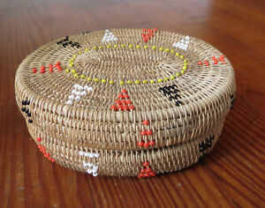 West Coast Native American Lidded Basket With Bead Decorations